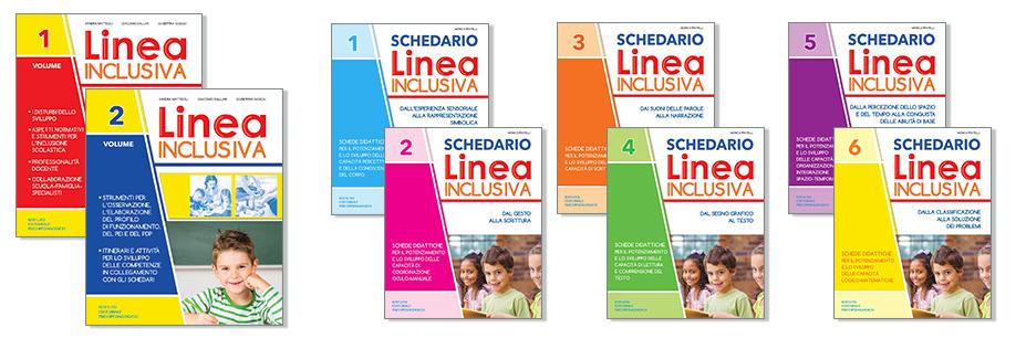Opera completa di Linea inclusiva composta da due guide teoriche per l'insegnante della scuola dell'infanzia e della scuola primaria, corredata da 6 schedari con schede operative